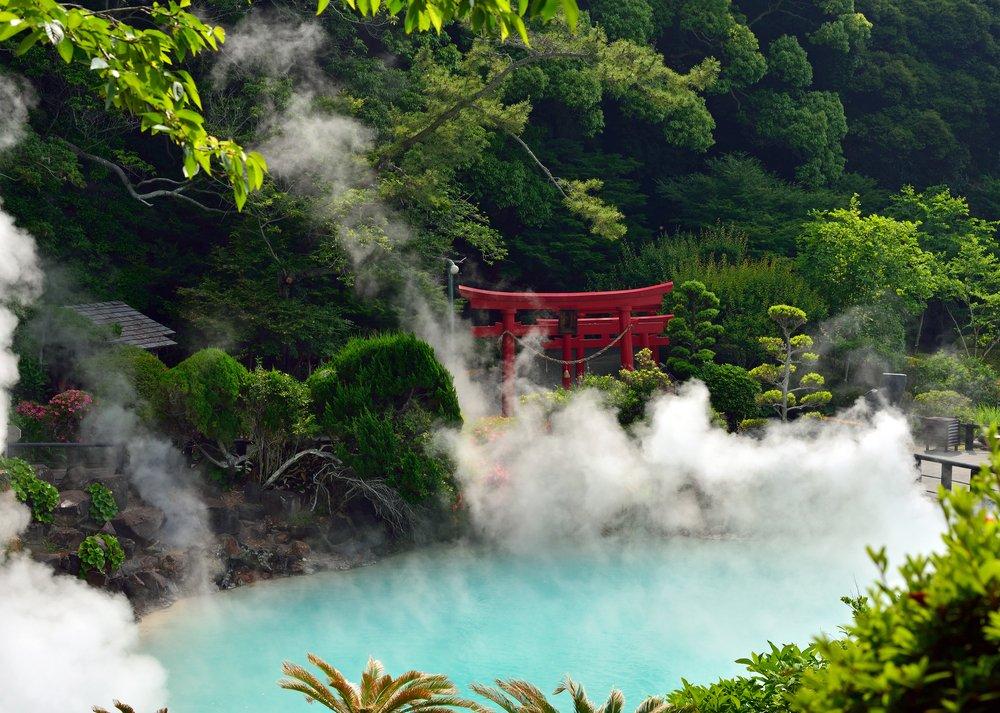 Umi jigoku (Sea hell) Cyan hot spring ,Beppu